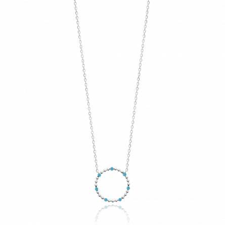 Collier femme argent Sedia ronde bleu