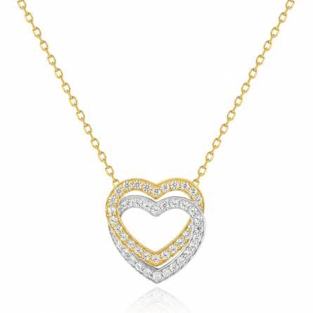 Collier femme Double coeur bicolore  coeur