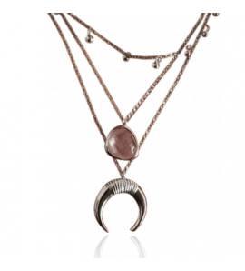 Collier femme métal doré Delma rose