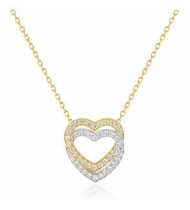 Collier femme matiere or Double coeur bicolore  coeur