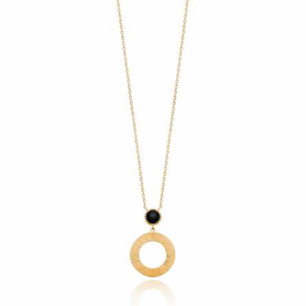 Collier femme pierre Algapira ronde noir