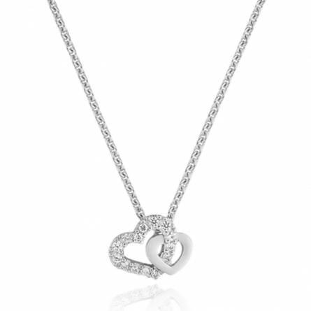 Collier femme pierre Double romance coeur