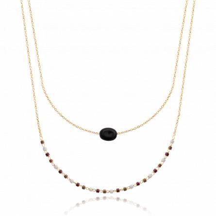 Collier femme pierre Gabenia noir