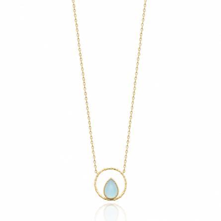 Collier femme pierre Galea ronde bleu
