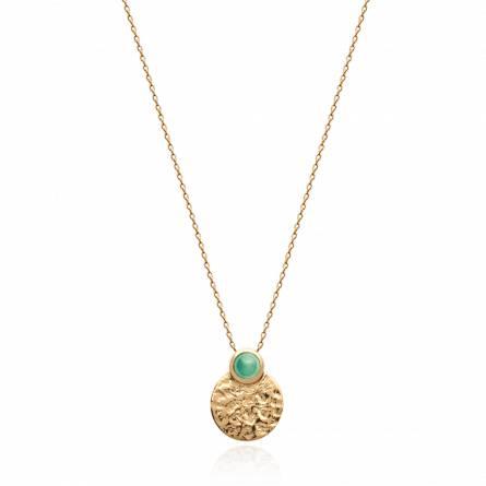 Collier femme pierre Iliasa ronde vert