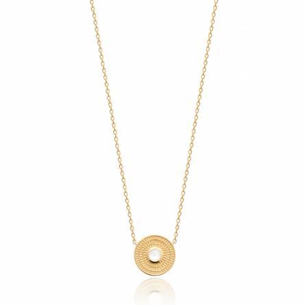 Collier femme pierre Lunza ronde blanc