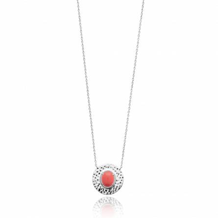 Collier femme pierre Maryce ronde orange