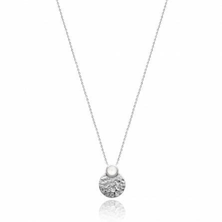 Collier femme pierre Nariel ronde blanc