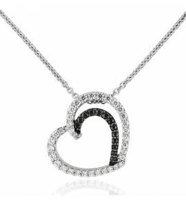 Collier femme pierre Nerelia coeur noir