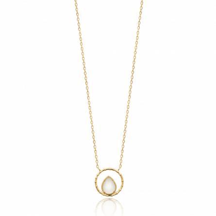 Collier femme pierre Ovana ronde blanc