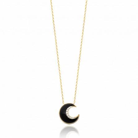 Collier femme pierre Rinath demi lune noir