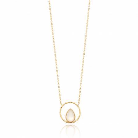 Collier femme pierre Sereda ronde blanc