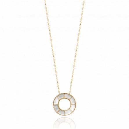 Collier femme pierre Sielina ronde blanc