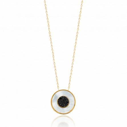 Collier femme pierre Yafea ronde noir