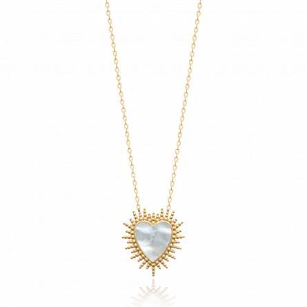 Collier femme plaqué or Ahman coeur blanc
