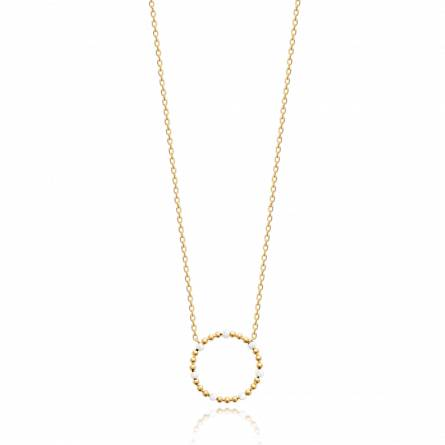 Collier femme plaqué or Amecia ronde blanc