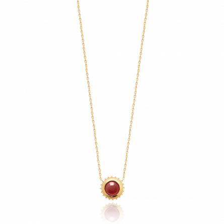Collier femme plaqué or Arielin ronde rouge