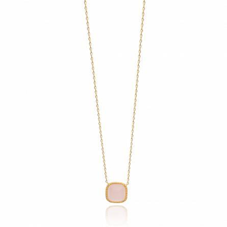Collier femme plaqué or Balmata carrée rose