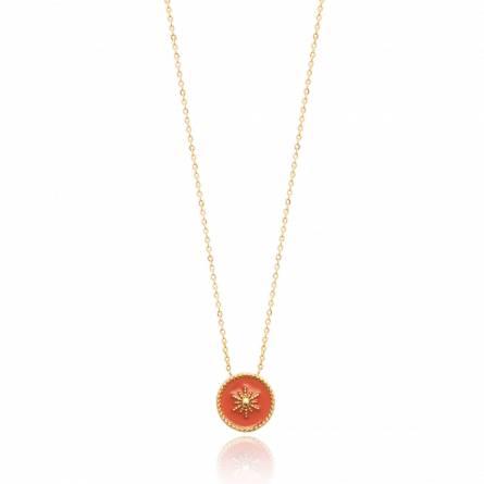 Collier femme plaqué or Belia ronde rouge