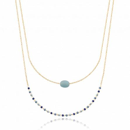 Collier femme plaqué or Courties blanc