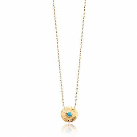 Collier femme plaqué or Dalilady ronde turquoise