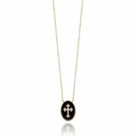 Collier femme plaqué or Dasina croix noir