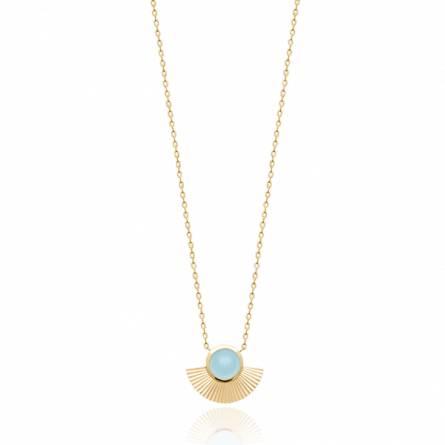 Collier femme plaqué or Disesia bleu