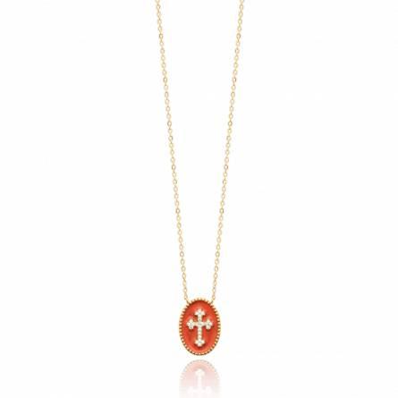 Collier femme plaqué or Emin croix rouge