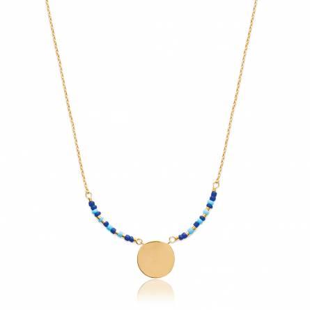 Collier femme plaqué or Hania bleu