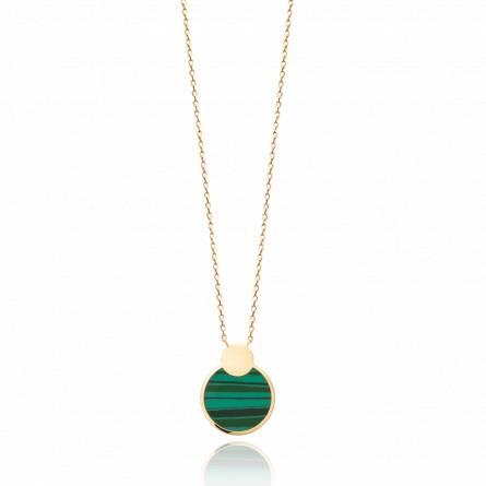 Collier femme plaqué or Hiane ronde vert