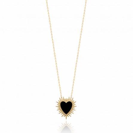 Collier femme plaqué or Leisa coeur noir