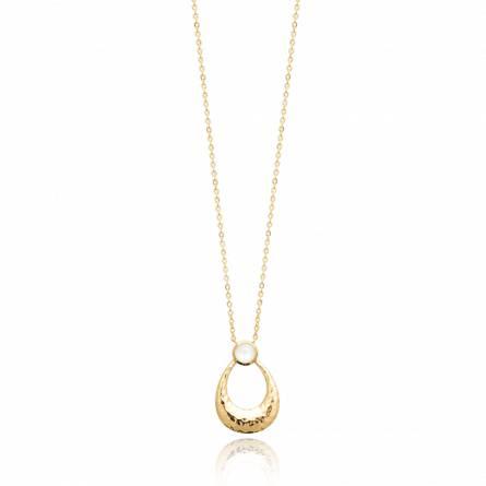 Collier femme plaqué or Marimora blanc