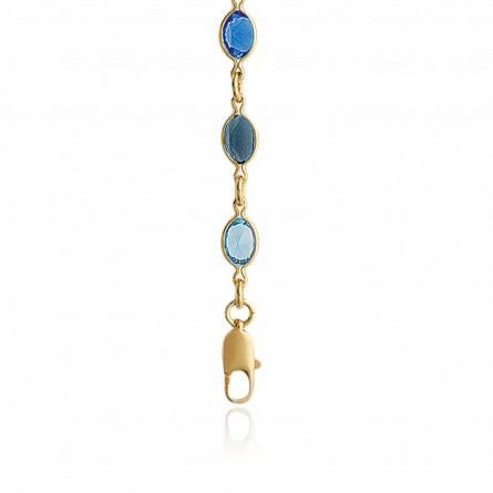 Collier femme plaqué or Meizi bleu