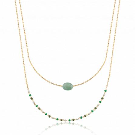 Collier femme plaqué or Siang vert