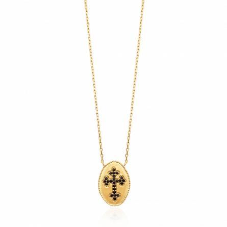 Collier femme plaqué or Udisia croix noir