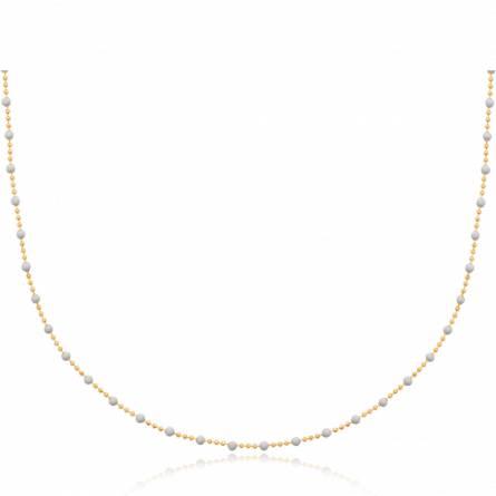 Collier femme plaqué or Zeda blanc
