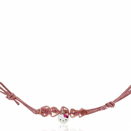 Collier lacet rose et pendentif argent Kitty Naoïle