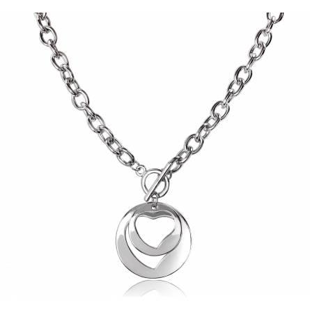 Collier métal double cœur