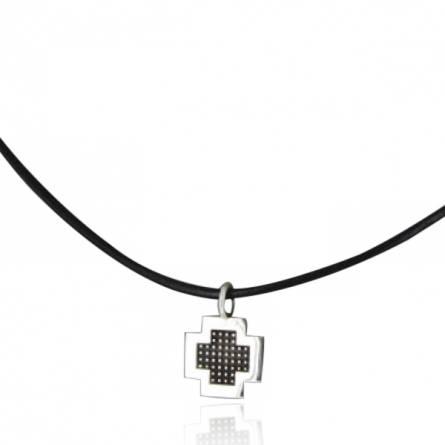 Collier Minimaliste croix pixelisée cuir