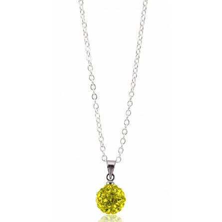 Collier multistrass cristal jaune fluo