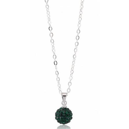 Collier multistrass  cristal vert emeraude
