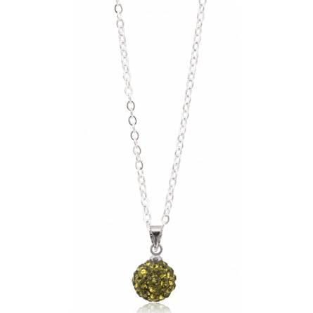 Collier multistrass  cristal vert tilleuil Javière