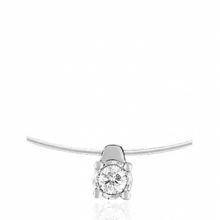 Collier or blanc sertie diamant