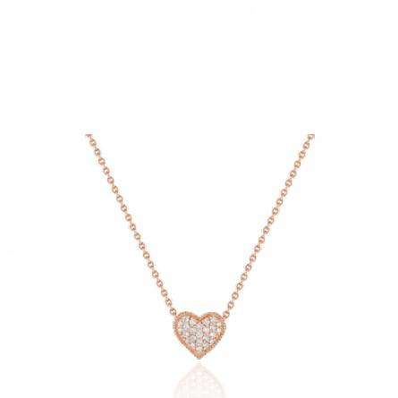 Collier or rose coeur diamant