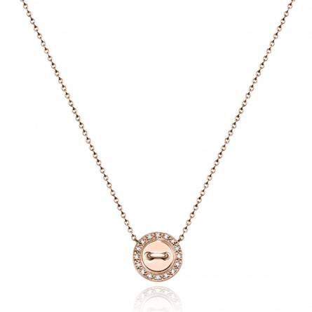 Collier or rose ronf diamant