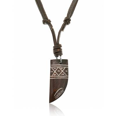 Collier Oxbow Cordon cuir marron  Ethnic Seydou