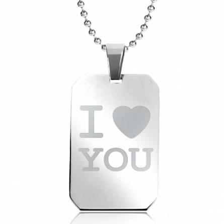 Collier pendentif I Love You