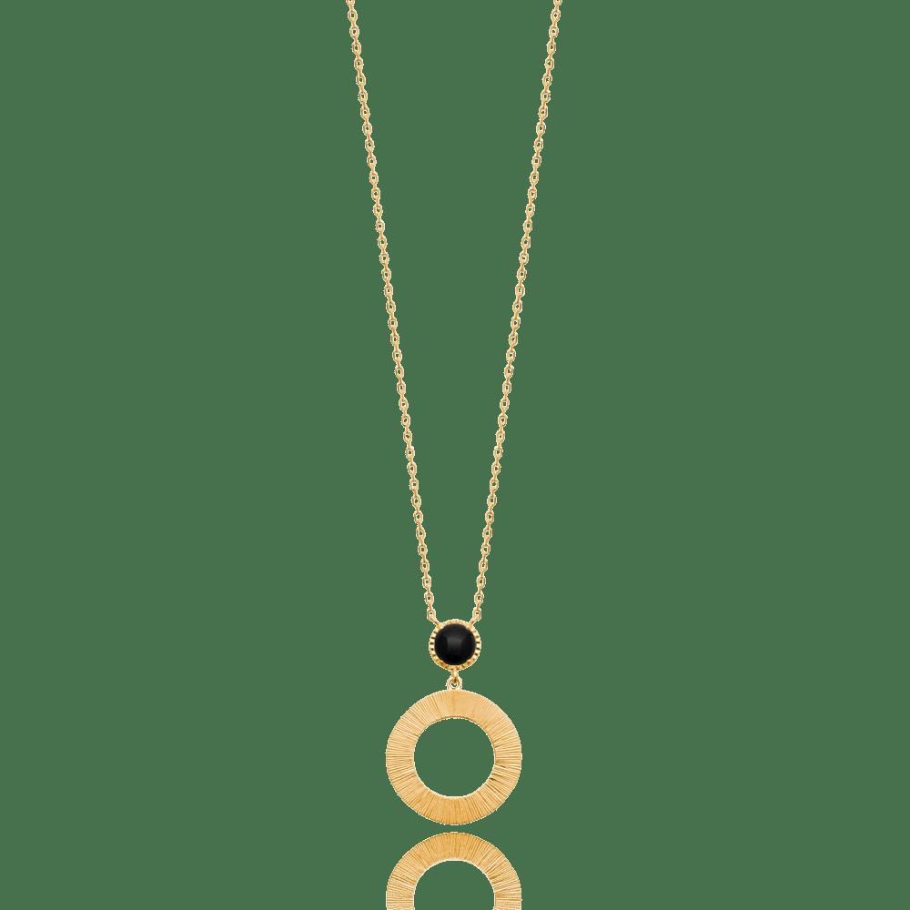 collier femme pierre noire