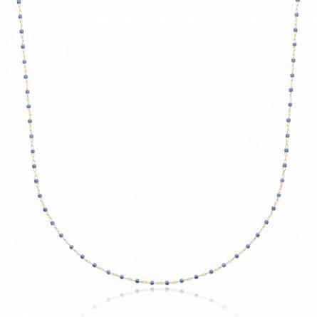 Collier plaqué or perle Miyuki bleu