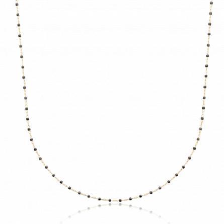 Collier plaqué or perle Miyuki noire